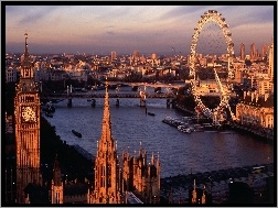 London Eye, Londyn, Miasta, Panorama, Big Ben